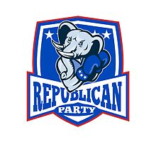 Republican Elephant Mascot Boxer Shield by patrimonio