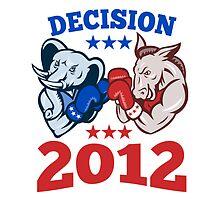 Democrat Donkey Republican Elephant Decision 2012 by patrimonio