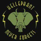 Hellephant - Maulive Green on Black by Koobooki