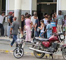 Bank queue. by Anne Scantlebury