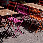 Colored coffee terrace chair by Pat Garret