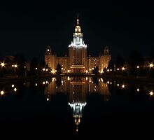 Moscow State University at Night by Irina Chuckowree