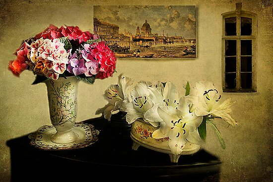 Hydrangeas and Lilies by Irene  Burdell