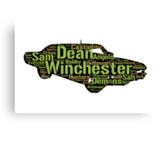 Dean's Impala: Words in shape (Supernatural) Canvas Print