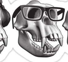 Hear Evil See Evil Speak Evil Monkey Skull Sticker