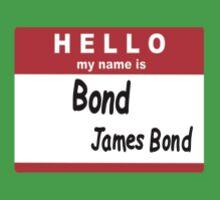 Hello My Name is Bond, James Bond Name Tag Kids Clothes