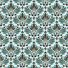 Brown & Blue Vintage Ornate Floral Pattern by artonwear