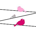 Birds on a Wire - Pink by Kelly Walker