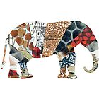 COLLAGE ART ELEPHANT by artbya