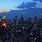 Tokyo skyline at evening by Cebas