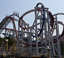 Roller coaster rides inside the Universal Studio Park in Sentosa in Singapore by ashishagarwal74