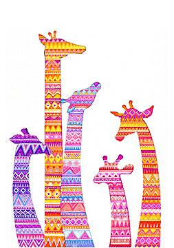 Giraffe Silhouettes in Colorful Tribal Print by Annya Kai