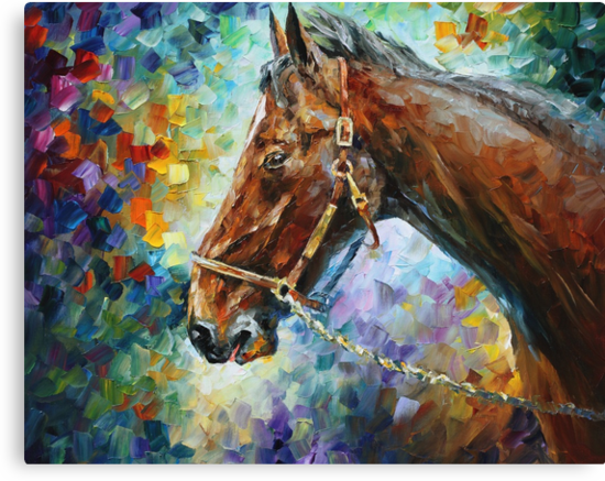 Horse - oil on canvas by Leonid Afremov by Leonid  Afremov