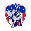 Republican Elephant Mascot USA Flag Shield by patrimonio