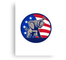 Republican Elephant Mascot USA Flag Canvas Print