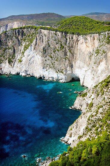Cliffs at Keri, Zakynthos, Greece by Giles Clare