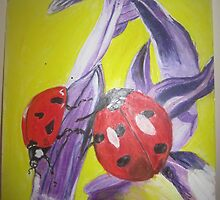 lavender and lady bugs by timothy  compton