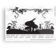 Alice's Adventures in Wonderland Black and White Illustrated Quote Metal Print