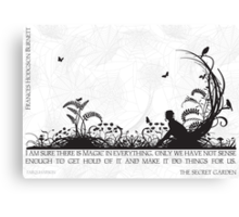 Secret Garden Black and White Illustrated Quote Canvas Print