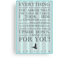 Labyrinth Jareth Movie Quote Canvas Print