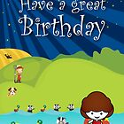 The Night Badgers Go Swimming Birthday Card  by springwoodbooks
