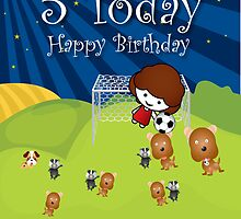 The Night Badgers Play Football 5th Birthday Card by springwoodbooks