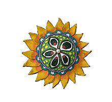Sun Sunflower Mandala Original Print Design from Clay Photographic Print