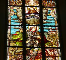 Stained Glass window, Name of Mary church, Novi Sad, Serbia (1) by Margaret  Hyde