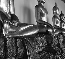 Bangkok - Wat Pho - Hundreds of Budda images by Mark Bolton