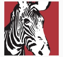 Red Zebra - Pop Art Graphic T-Shirt by BlueShift