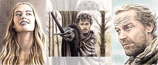Game of Thrones sketch card trio by wu-wei