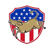 Democrat Donkey Mascot American Flag by patrimonio