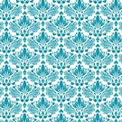 White & Blue Vintage Floral Damasks Pattern by artonwear