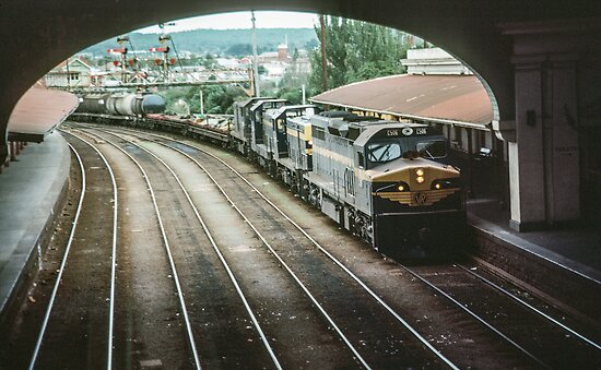 Diesel train coming into Ballarat station  198005000036 by Fred Mitchell