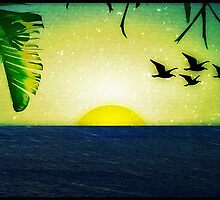 Sunset with Birds and Palm Trees by DFLCreative