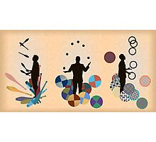 Silhouette Juggler with Props - Clubs, Rings and Balls Photographic Print