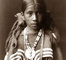 Native American Portrait: Jicarilla Girl in Feast Dress by Chunga