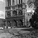 BW France Paris Notre Dame Cathedral 1970s by blackwhitephoto