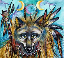 Shaman Spirit Wolf  by ChubbyMermaid