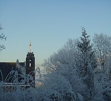 Winter scene with church by Caroline Clarkson
