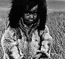 BW USA Alaska eskimo boy 1970s by blackwhitephoto