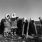 BW Fur clad eskimos of arctic alaska bu sod igloo 1970s by blackwhitephoto