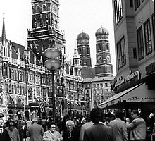 BW Germany Munich Frauenkirche Frauenplatz 1970s by blackwhitephoto