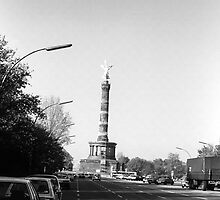 BW Germany Berlin 17th June Street Victory statue 1970s by blackwhitephoto