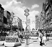 BW Germany Munich Towngate Karistor 1970s by blackwhitephoto