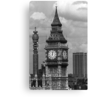 BW UK England London The post office tower Big ben 1970s Canvas Print
