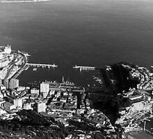 BW Principality of Monaco overview 1970s by blackwhitephoto