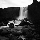 the black and white waterfall by JorunnSjofn Gudlaugsdottir