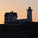 Nubble Light at Sunrise by Linda  Makiej