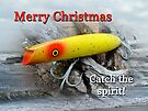 Christmas Greeting Card - Gibbs Darter Vintage Fishing Lure by MotherNature